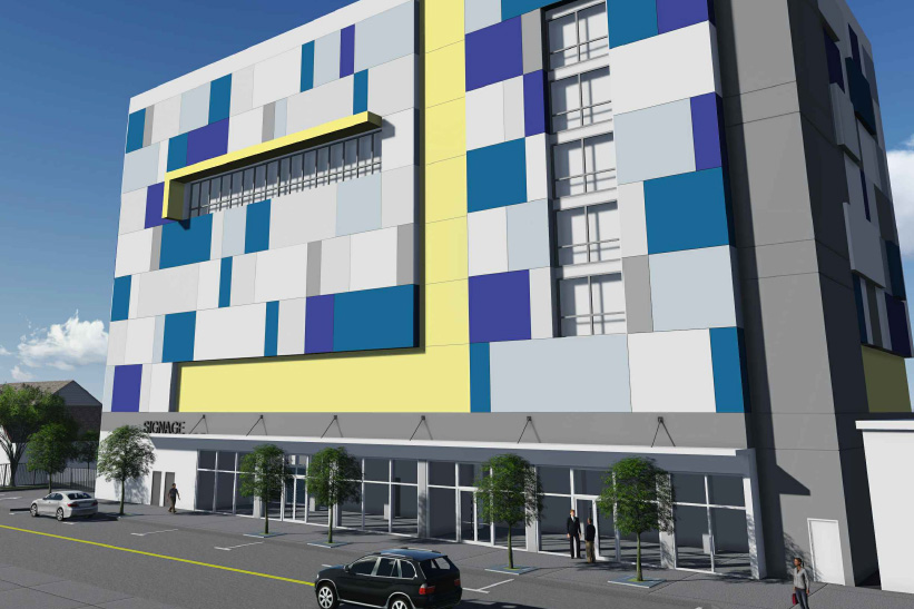 miami, self storage, rendering, downtown, colors