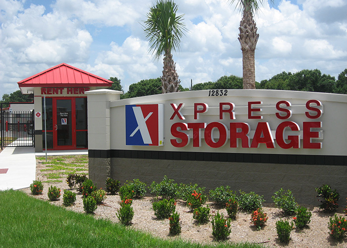 59,750 Net Rentable Square Feet, 16% Climate Controlled, 467 units, close up, sign, big bend express