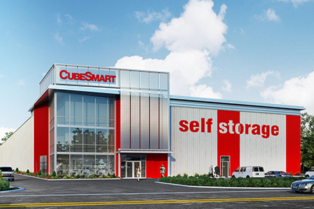 self storage, real estate, rendering, development, cubesmart, red